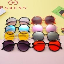 Psacss новые круглые солнцезащитные очки Детские высококачественные пластиковые милое кошачье ушко классические брендовые дизайнерские солнцезащитные очки для путешествий пляжные UV400