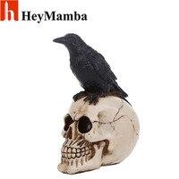 HeyMamba Resin Skull Eagle Statue Sculptures Skeleton Head Statutte Halloween Home Decor Decoration Accessories statues