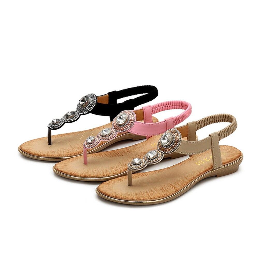 Beige D'été Femmes De Cristal Chaussures 2019 Plates Bohême Sandales odxeBWCr