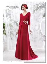Elegant V Back Red Floor Length Mother of the Bride Dresses Three Quarter Sleeves de la boda vestido madre MBD179