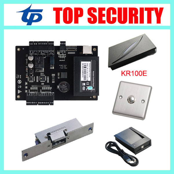 Biometric time attendance and access control system TCP/IP one door access control panel with metal exit button and card reader 2 4 lcd door access control attendance system