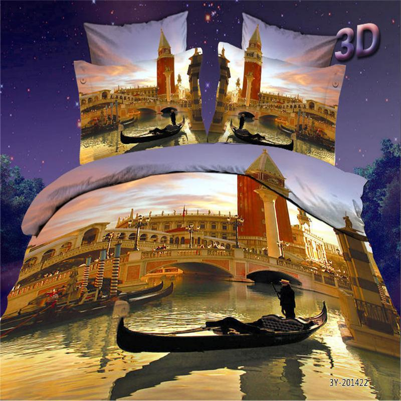 Venice Water Boat 3D City Sunset Bedding Set Queen Size Pure Cotton 4 Pieces Bedroom Sets <font><b>Bed</b></font> Sheets Duvet Cover Pillowcase