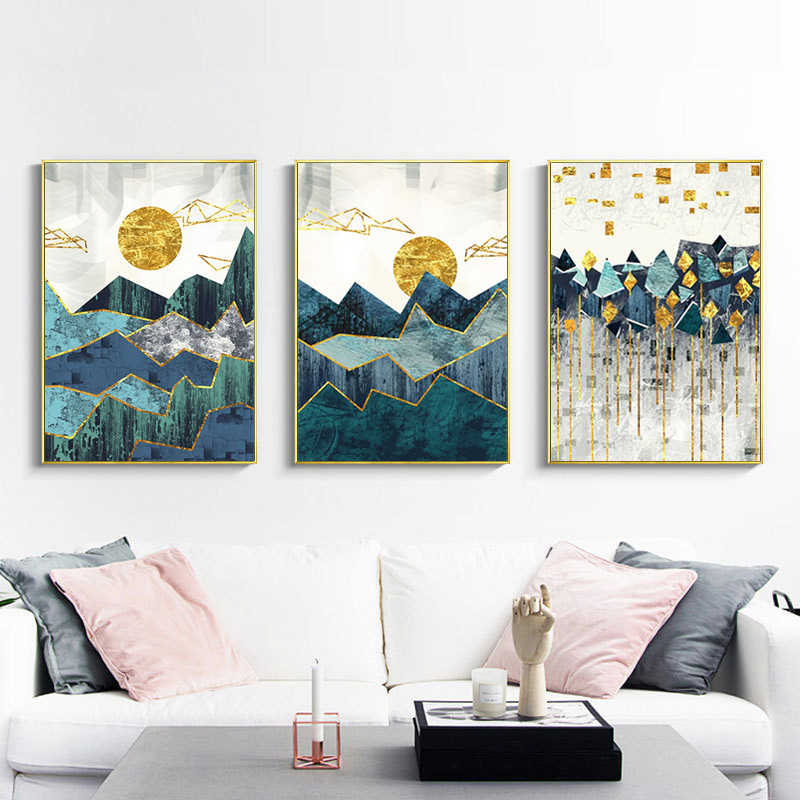 Wall Picture Painting Canvas Golden Sun Nordic 1PC Landscape Abstract For Living Room Geometric Art Poster  No Frame Mountain