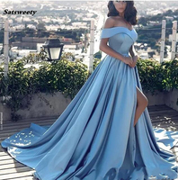 Sky Blue Muslim Bridesmaid Dresses 2019 A line Cap Sleeves Slit Sexy Formal Islamic Dubai Kaftan Saudi Arabic Long Prom Gown