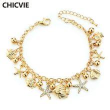 Chicvie золотые браслеты с рыбками и морскими звездами подвески