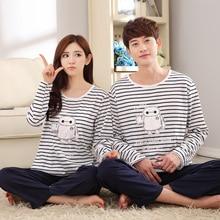 Full Sleeved Couple Pajama Sets Cotton Pyjama For Lover Women Pijamas Female Round Neck Homeclothing Causal Nightgrown Sleepwear