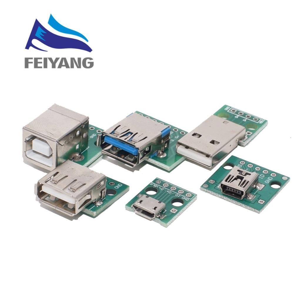 5PCS DIY Male Connector / MINI MICRO USB To DIP Adapter 2.54mm 5pin Female Connector B Type USB2.0 Female PCB Converter USB 3.0