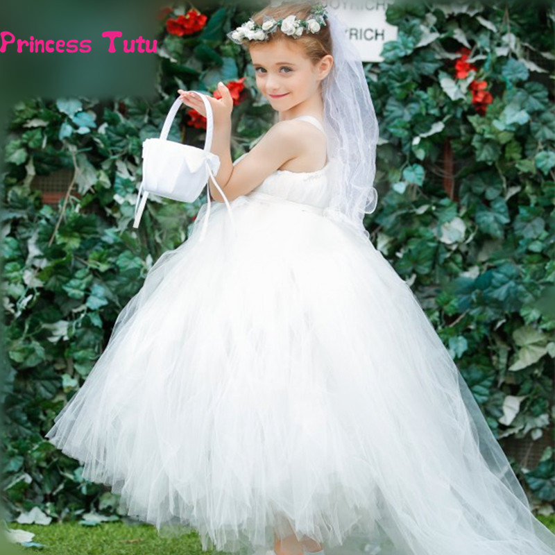 Flower Girl Dresses For Weddings White Long Trailing Tutu Dress Kids Girls Pageant Birthday Party Tulle Dress Ball Gown Vestidos ball gown sky blue open back with long train ruffles tiered crystals flower girl dress party birthday evening party pageant gown