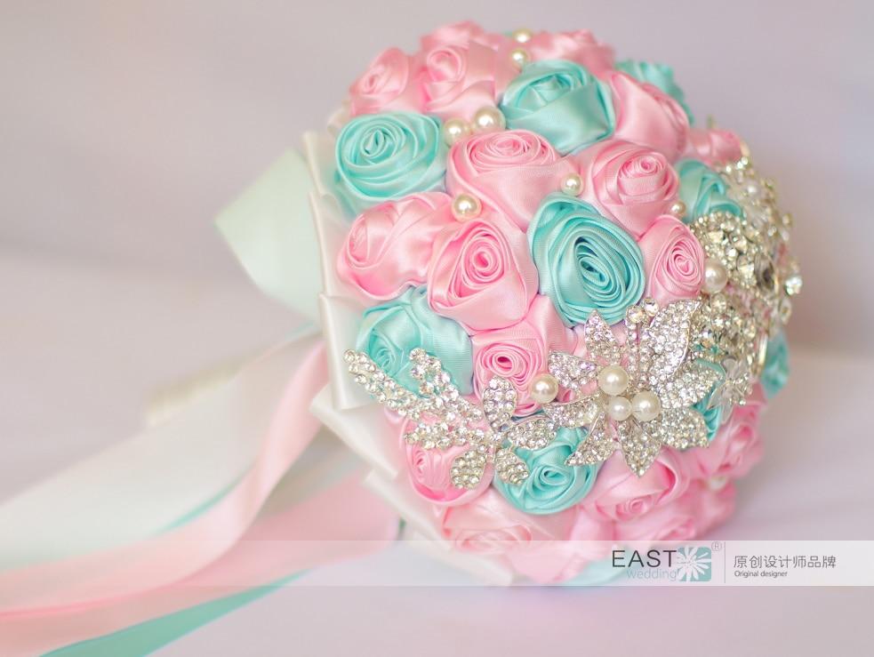 DIY brooch bouquet Silk Bride Bridal Wedding Bouquet Bridesmaid cyan ...