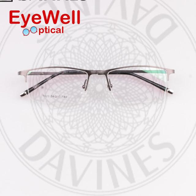 Óculos de marca titanium homens de óculos óptica óculos de armação óculos de miopia moda óculos meia armação t020