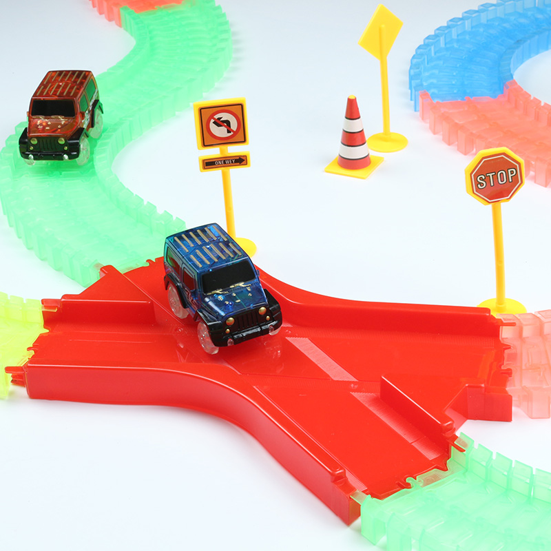 Mini Glowing Race Track Bend Flexible Flash in the Dark Racing Tracks Car Toy Set with LED For Kids Birthday Childrens Gift