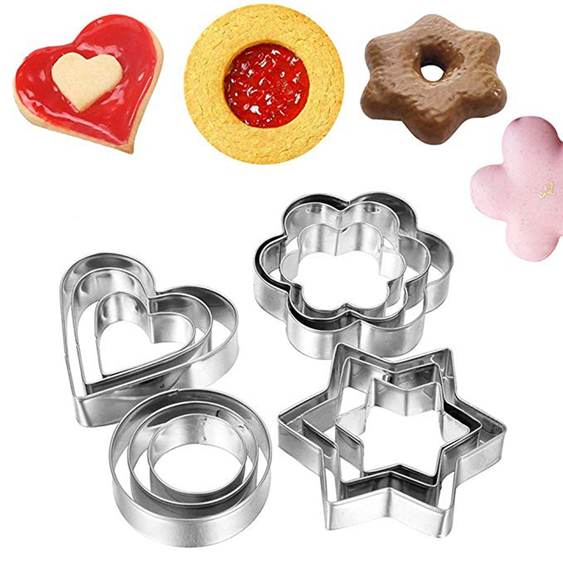 Circle Biscuit Shape 12PCS//Set Cake Biscuit Heart Mold Mould Cookie Cutter