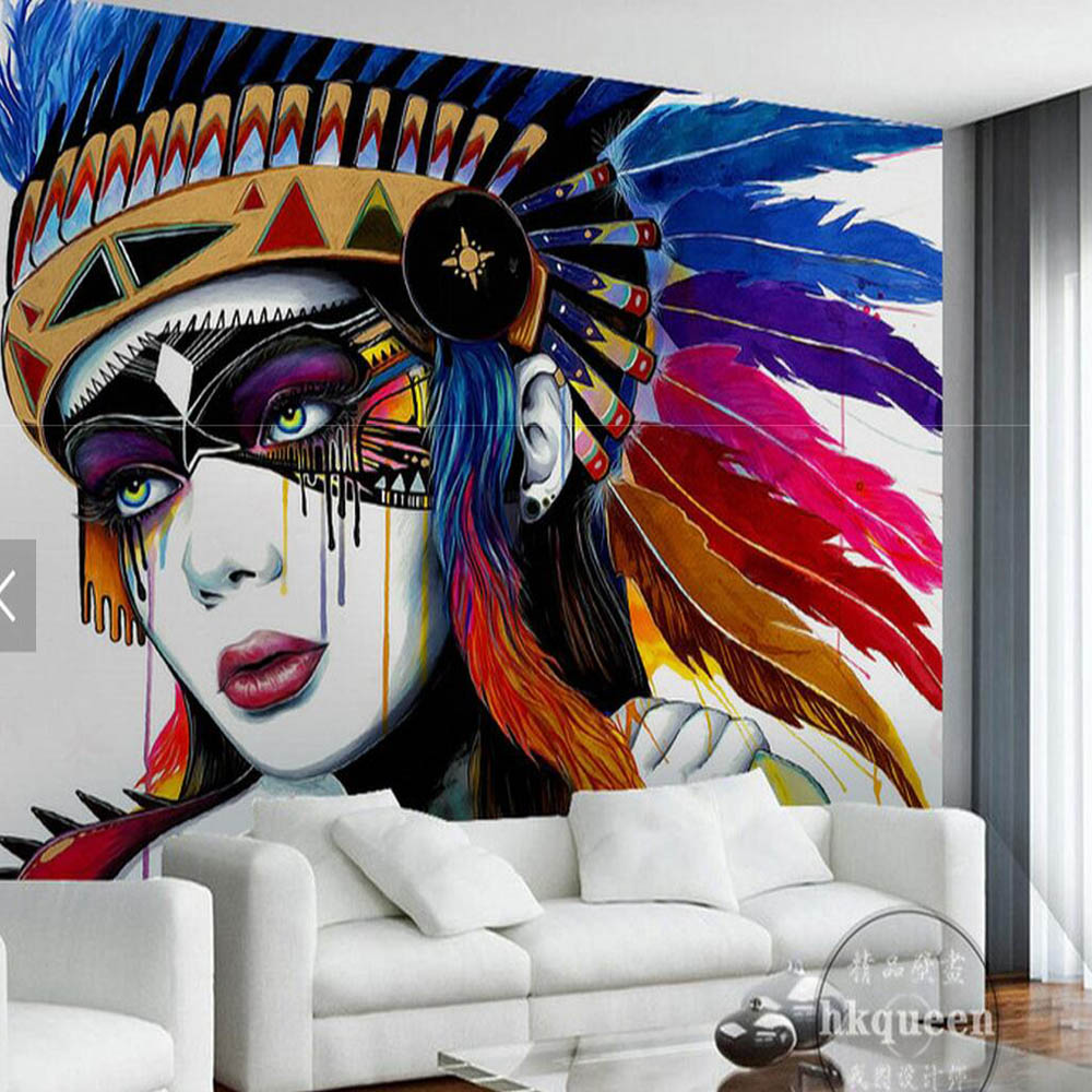 European Indian Style 3D Abstract Oil Painting Photo
