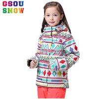 GSOU SNOW Winter Kids Ski Jacket Thicken Thermal Girls Snowboard Jackets Children Super Warm Bright Colorful Printed Snow Coats