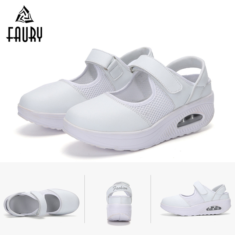 Женская обувь для медсестры, летняя обувь для работы в больничном стиле, сетчатая дышащая дезодорирующая обувь на толстой подошве, мягкая п...
