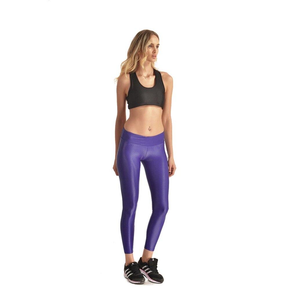 JIGERJOGER Shiny Purple Wet Look Skinny Tight Stretch Legging Women  Metallic Pant Full Length High waisted bbc0a22c3d26