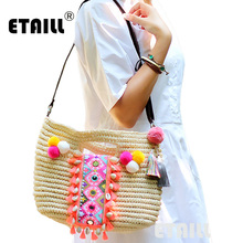 New 2016 Straw Summer Weave Woven Beach Women Bag Bohemian Boho Indian Thailand Knitted Bags Patterns Famous Brand Handbags