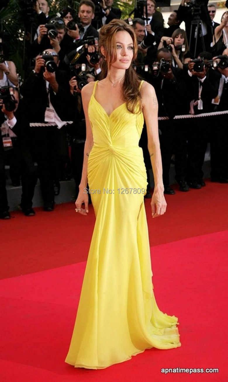 Angelina jolie Kostenloser Versand Sexy Custom Made Meerjungfrau Schatz  Bodenlangen Gelb Promi Kleid Roter Teppich Kleid
