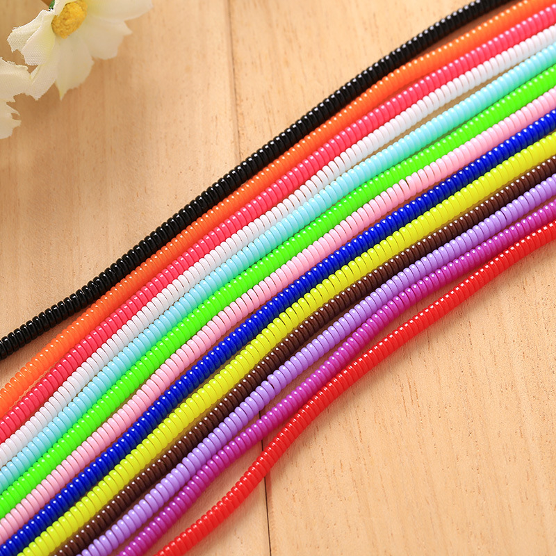 3pcs 60cm Spiral Cord Protector Wrap Cable Winder For font b USB b font Charger Cable