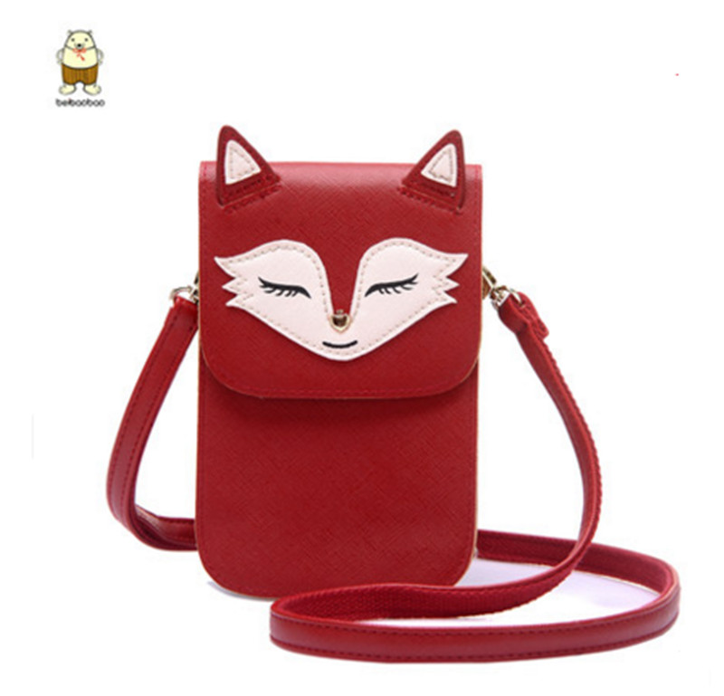 New Lovely fox ladies shoulder bag style Women Single Phone Bag Casual Cartoon Mini Girls Phone Bags & Cases Purse For youth lovely fox children one shoulder bag