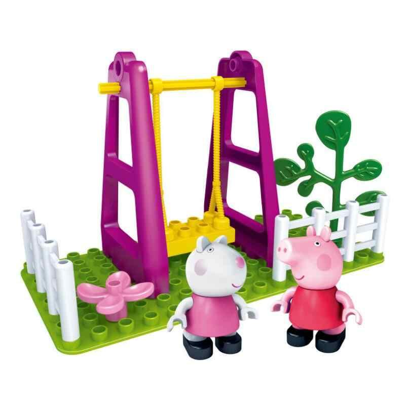 Подлинный Свинка Пеппа-Мумия автомобиль игровая площадка снаружи качели игрушечная горка Строительные блоки Набор образовательных игрушек-с фигурой Peppa suzy