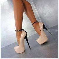 SHOFOO Shoes Beautiful Fashion Free Shipping Beige Leather Fabric 14 5 Cm High Heeled Shoes Round