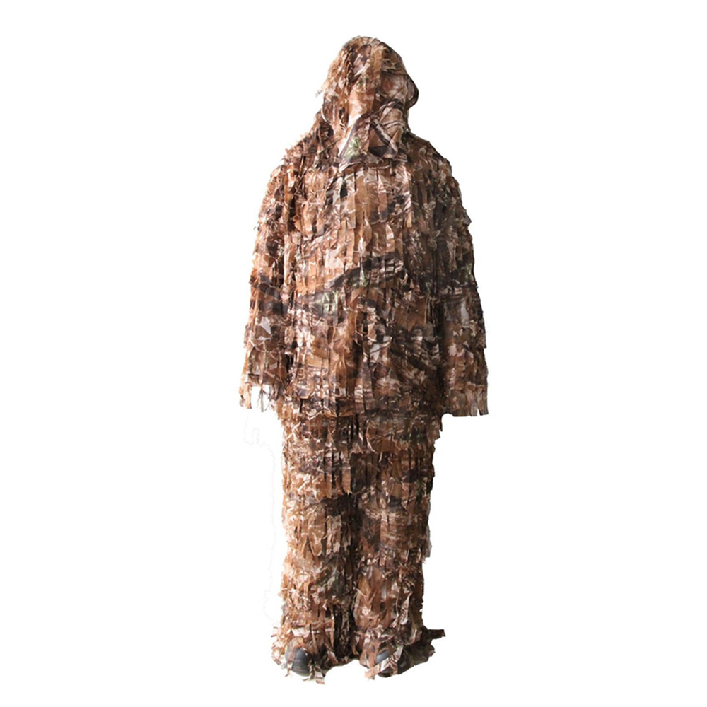 3-D Ghillie Suit Premium Hunting Net Camo Suit Camouflage Clothing Double The Leaf Suit Ghillie Suit Clothing Jacket and Pants double fleece camo suits fabric jungle camouflage hunting clothing sets for hunter clothes