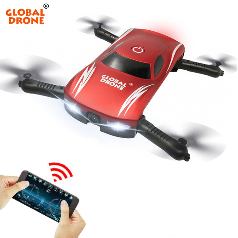 GLOBAL DRONE GW186 Foldable Mini Selfie Pocket RC Drone Voice Control Altitude Hold Helicopter with HD FPV Camera Dron VS JY018 rc drone jy018 foldable quadcopter selfie helicopter mini drone with wifi camera hd pocket drone