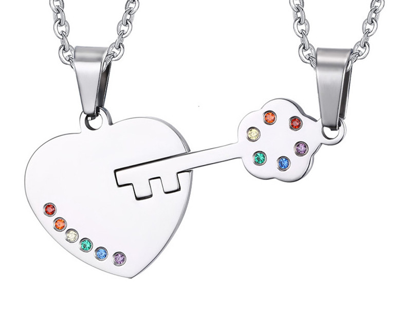 Necklace Jewelry pendant heart - shaped unlock couple pendant sticky color rainbow ornaments Necklaces & Pendants