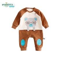 2017 New Brand Baby Romper Autumn Long Sleeve Cartoon Bear Jumpsuit Newborn Baby Boy Girl Clothes