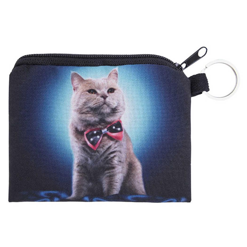 الحيوان القط محفظة للعملة حامل البسيطة الكرتون 3D القط الكلب محافظ فتاة الاطفال المال حقيبة عملة حقيبة الأطفال سستة صغيرة الحقيبة