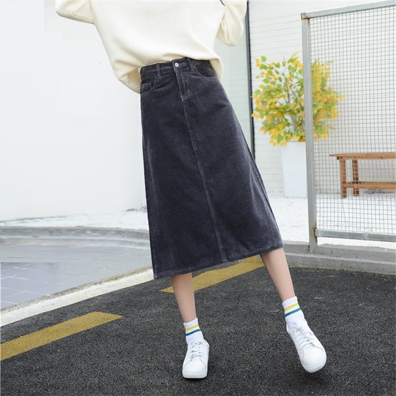 Image 4 - Free Shipping 2019 New Spring Autumn Womens Corduroy Skirt Girls