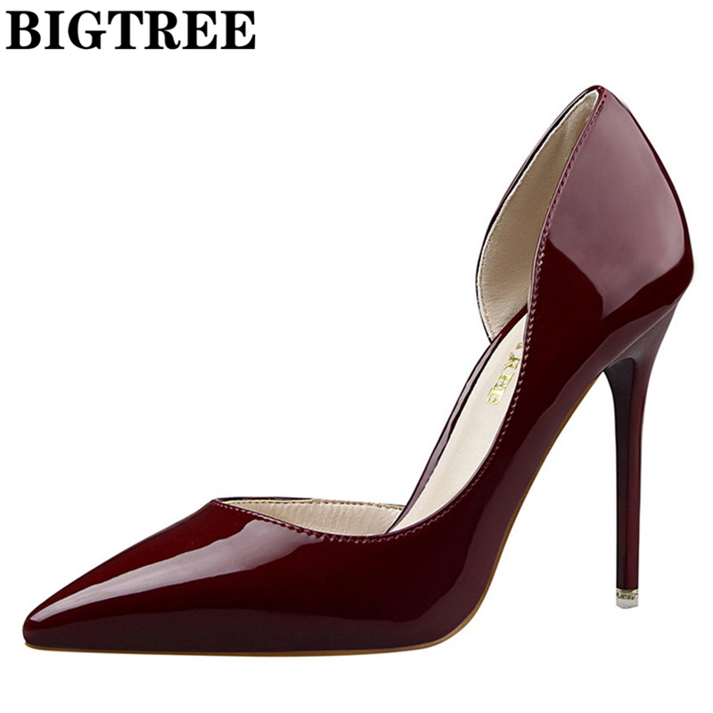 2017 High Heels Women's Shoes Winter Leather Shoes Woman Ladies Pumps Sexy Thin Heels Footwear Women Shoes For Wedding DS638-5 блузка quelle venca 1004550