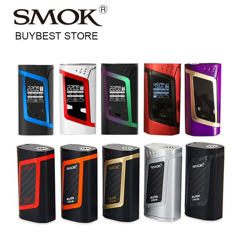 100% Original 220W SMOK Alien Mod VW/TC Box Mod Firmware Upgradable Match For TFV8 Baby Tank Atomizer Electronic Cigarette original lost vape therion dna75 75w tc box mod