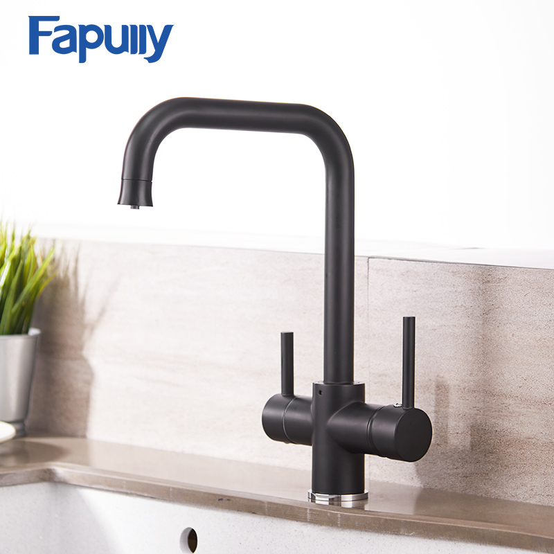 Fapully Kitchen Faucet Brass Black Cold and Hot Dual Handle Mixer with Filtered Water Faucet Mixer