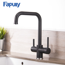 Fapully Kitchen Faucet Brass Black Cold and Hot Dual Handle Mixer with Filtered Water Sink Tap Faucets 927-33B