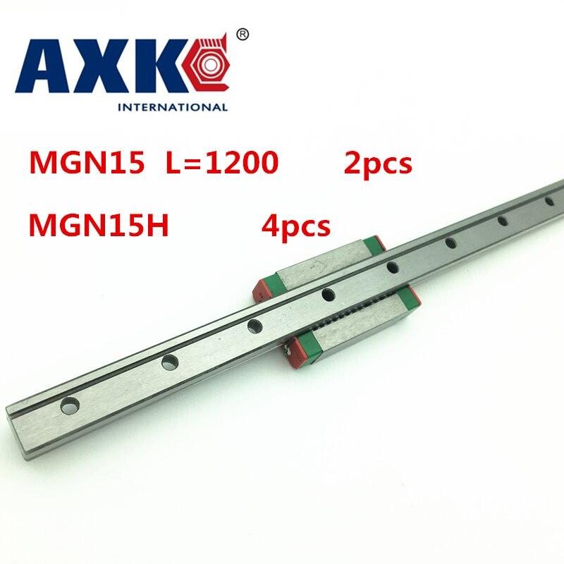 2018 Thrust Bearing New 2pcs 15mm Miniature Linear Guide Mgn15 L= 1200mm Rail + 4pcs Mgn15h Cnc Block For 3d Printer Parts Xyz high precision 1pcs linear guide 20mm trh20 l 1000mm linear rail 2pcs trh20b slider block bearing linear guide rail for cnc