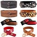 Mujeres Doble Pasadores Hebilla Cinturón Ancho Señora Stretch Venda de La Cintura de Cuero Hueco BLTYN0039