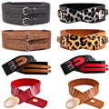 Women Double Pins Buckle Hollow Leather Wide Belt Lady Stretch Waist Band BLTYN0039
