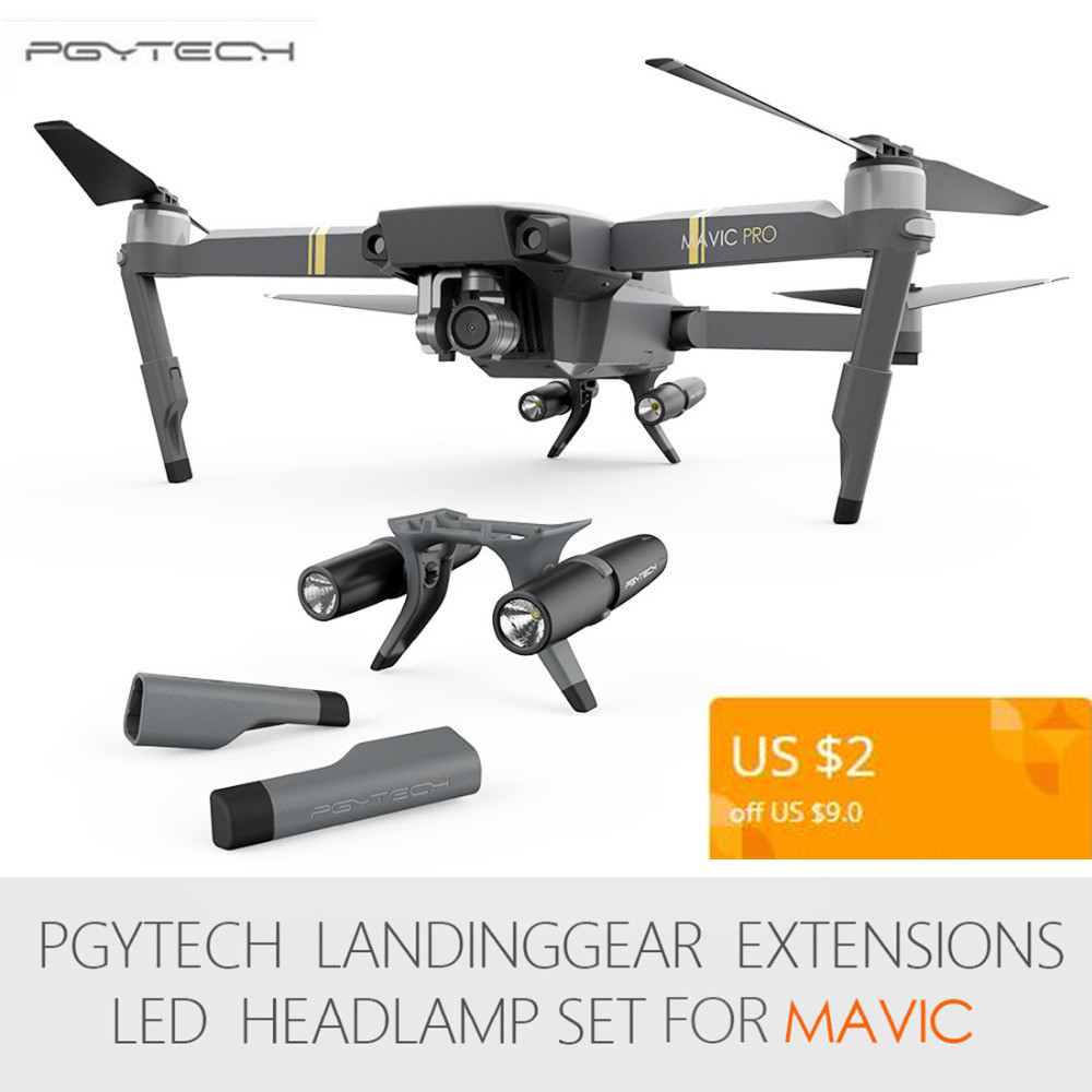 PGYTECH Extended Landing Gear Leg Support Protector Extension LED Headlamp Front Bright LED Lights set For DJI Mavic Pro pgytech dji mavic 2 landing gear riser extended landing gear leg for dji mavic 2 pro zoom fly more combo drone accessories parts