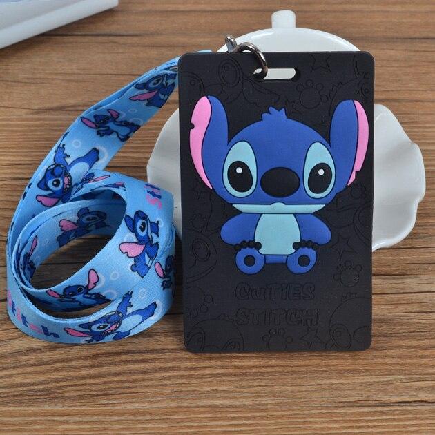 1Pcs Cartoon Stitch Lanyard ID Badge Holder Key Neck Strap Kids Gifts QW-351