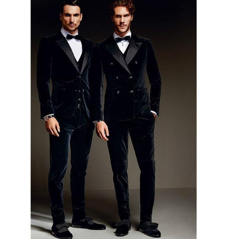 2019 Fashionable Men Suit Double Breasted (Jacket+Pants+Vest) Bespoke Mens Velvet Wedding Groom Tuxedo Groomsman Best Man Terno