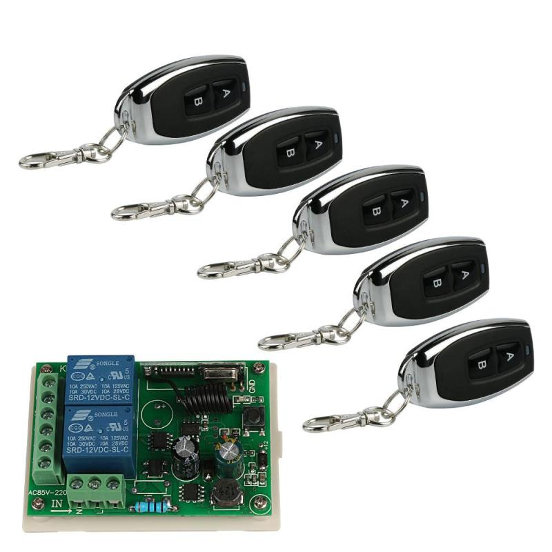 433 Mhz Universal Wireless Remote Control Switch 2CH Relay Receiver Module with 5pcs 433 Mhz RF Learning Code 1527 Transmitter high quality 12v 24v 2ch rf wireless remote control lighting switch receiver with 2ch relay for smart home 315mhz 433 92mhz