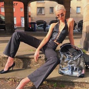 Image 5 - Nibber ملابس داخلية نسائية موضة الشرير الأسود جلدية hollwo ملابس نسائية قصيرة موضة صيف 2019 قطع علوية ضيقة من الجلد الناعم قابلة للتمدد