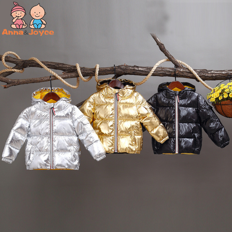 Silver bread Clothes Down jacket Golden Black Coat Down Jacket Children Short Section Thickening Boys And Girls 2018 New Models pu leather and corduroy spliced zip up down jacket