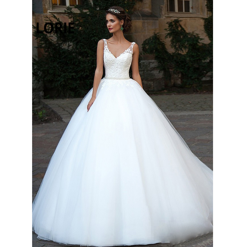 LORIE 2019 Ball Gowns Wedding Dresses Back Lace Up Fluffy Bride Dresses V-Neck Lace Appliques With Tulle Wedding Guest Dresses