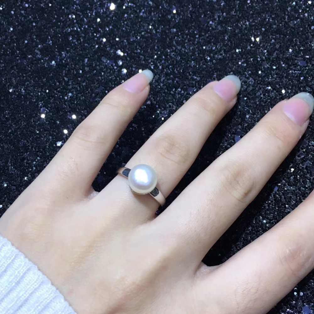 YIKALAISI 925 เงินสเตอร์ลิงเครื่องประดับ Pearl แหวนผู้หญิง fine100 ธรรมชาติ 8-9 มม.ไข่มุกน้ำจืดขายส่ง