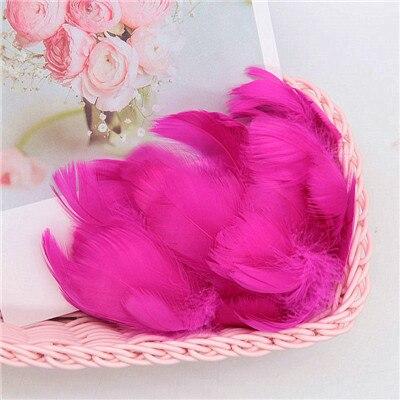 Разноцветные, 100 шт, гусиные перья, 8-12 см, гусиные перья, сценический шлейф, перья, промытый гусиный пух, пушистый шлейф для свадьбы, 3-4 дюйма - Цвет: rose red