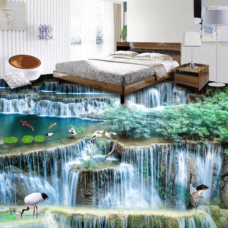 แบบกำหนดเองภาพจิตรกรรมฝาผนัง 3D น้ำตกภูมิทัศน์ห้องนั่งเล่นห้องนอนห้องน้ำห้องครัว 3D สติกเกอร์ PVC Self - adhesive วอลล์เปเปอร์