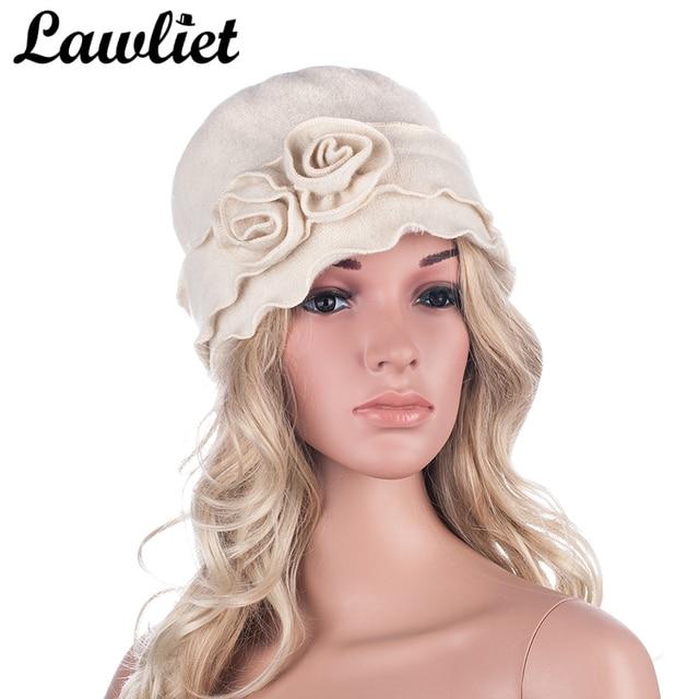 01511c790c5 Lawliet Winter Cap Women Beret 1920s GATSBY Style Solid Two Flowers Beanie Wool  Hats for Women Ladies Bucket Crochet Hat A285